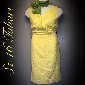 Sz 16 Tahari Arthur Levine Yellow Dress W/ Scarf